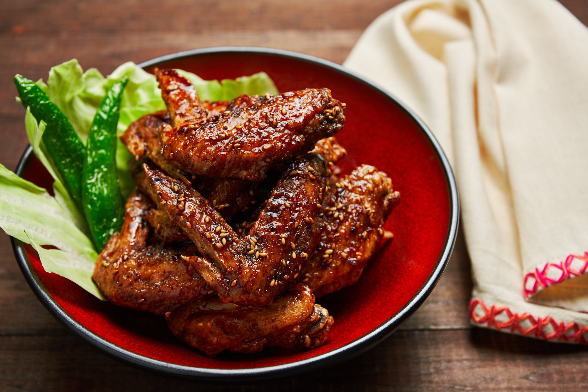 Tebasaki, or Japanese-style buffalo wings are ultra-crisp on the outside and glazed with a sweet and savory sauce that's loaded with garlic, ginger, and black pepper.