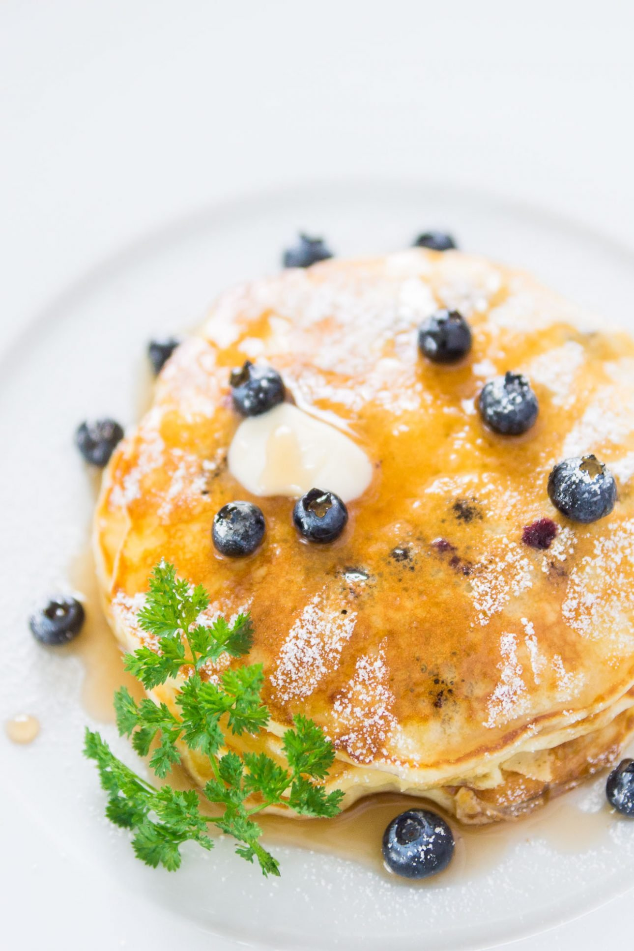 These blueberry yogurt pancakes are moist, fluffy and delicious.