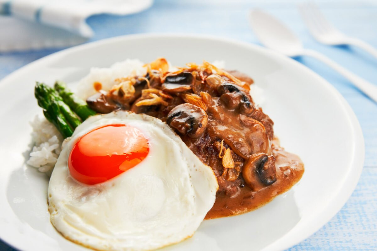 With a sunny side up fried egg and a savory mushroom pan-gravy, this delicious Loco Moco is both easy to make and satisfying.