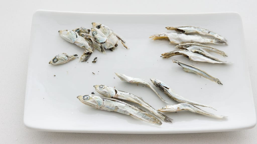 Myeolchi or dried baby anchovies used for making stock.