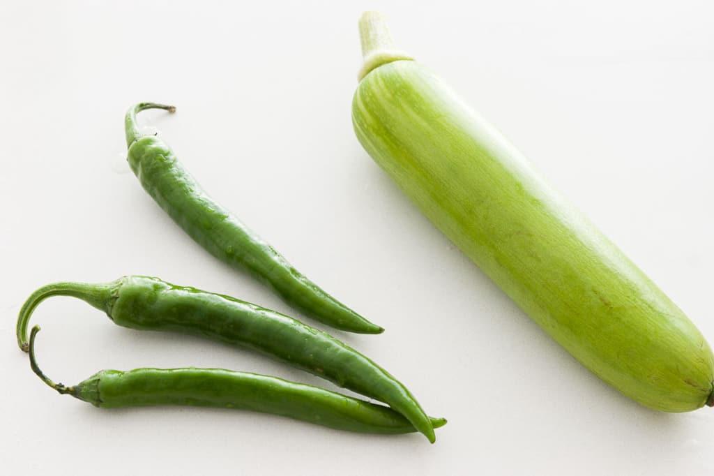 Cheong Gochu (Korean green chilies) and Ae-hobak (Korean zucchini) for doenjang jjigae.