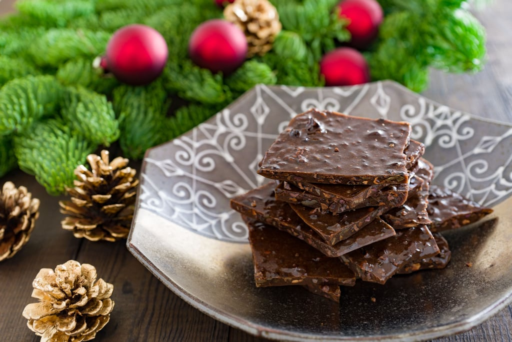 A delightful holiday chocolate brittle loaded with cacao nibs.