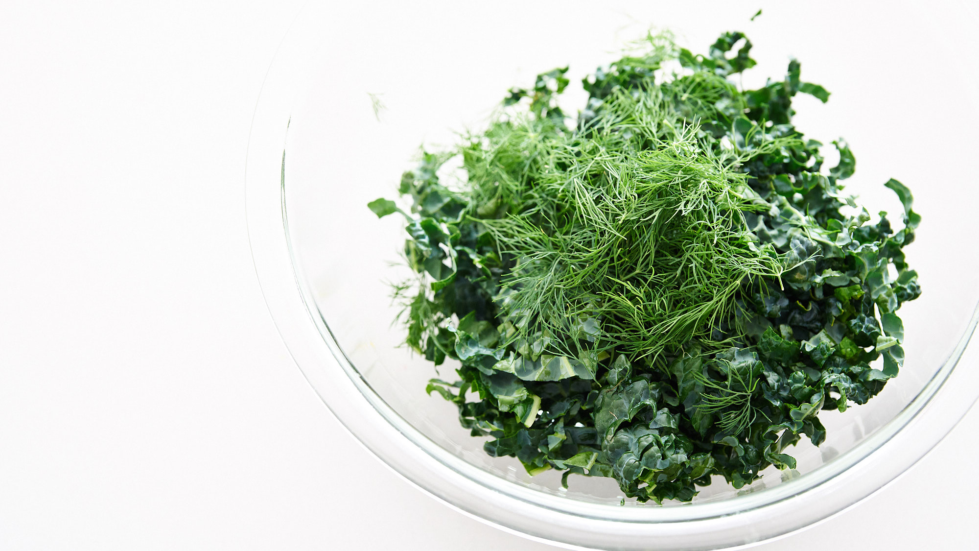 Fresh kale and dill for ramen salad.