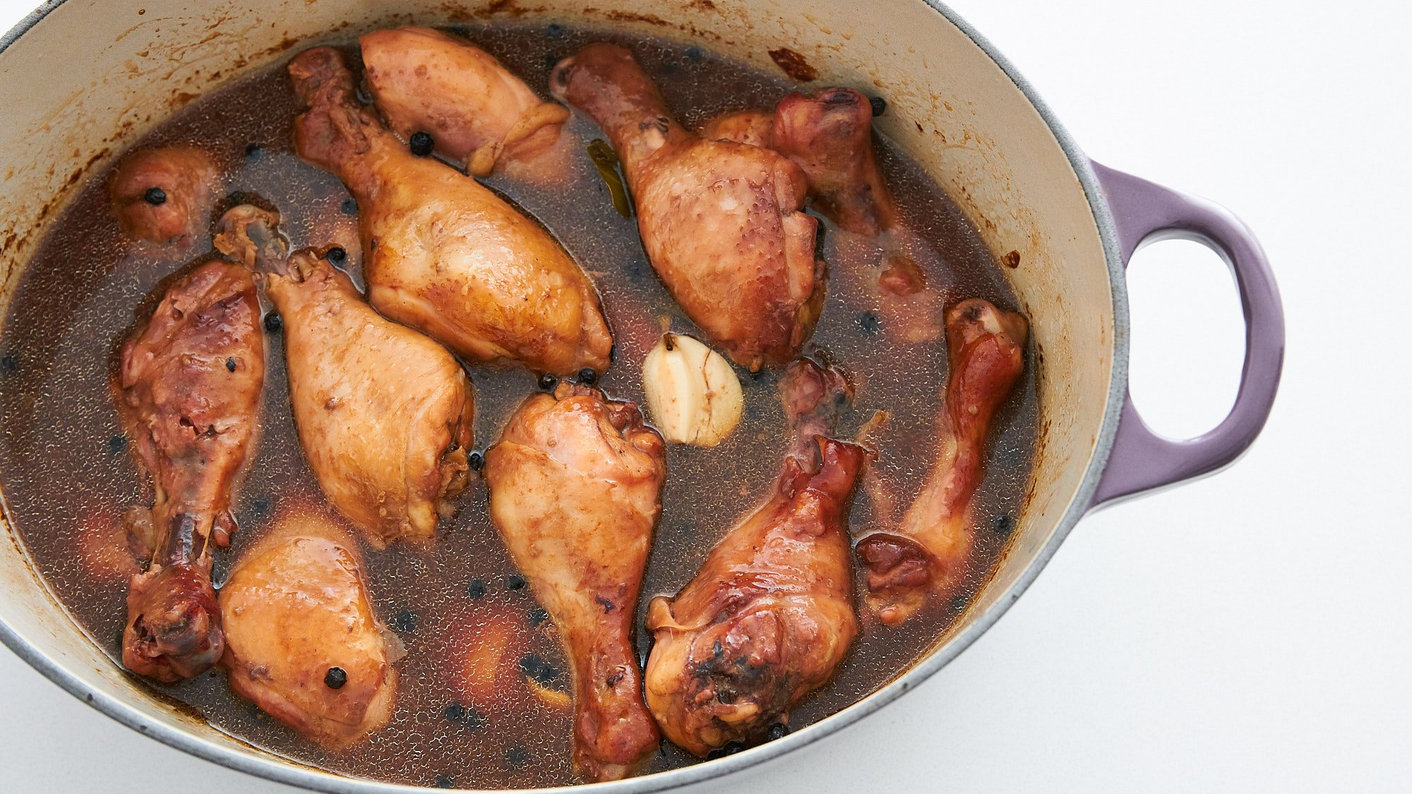 The chicken is tender and the adobo is almost done.