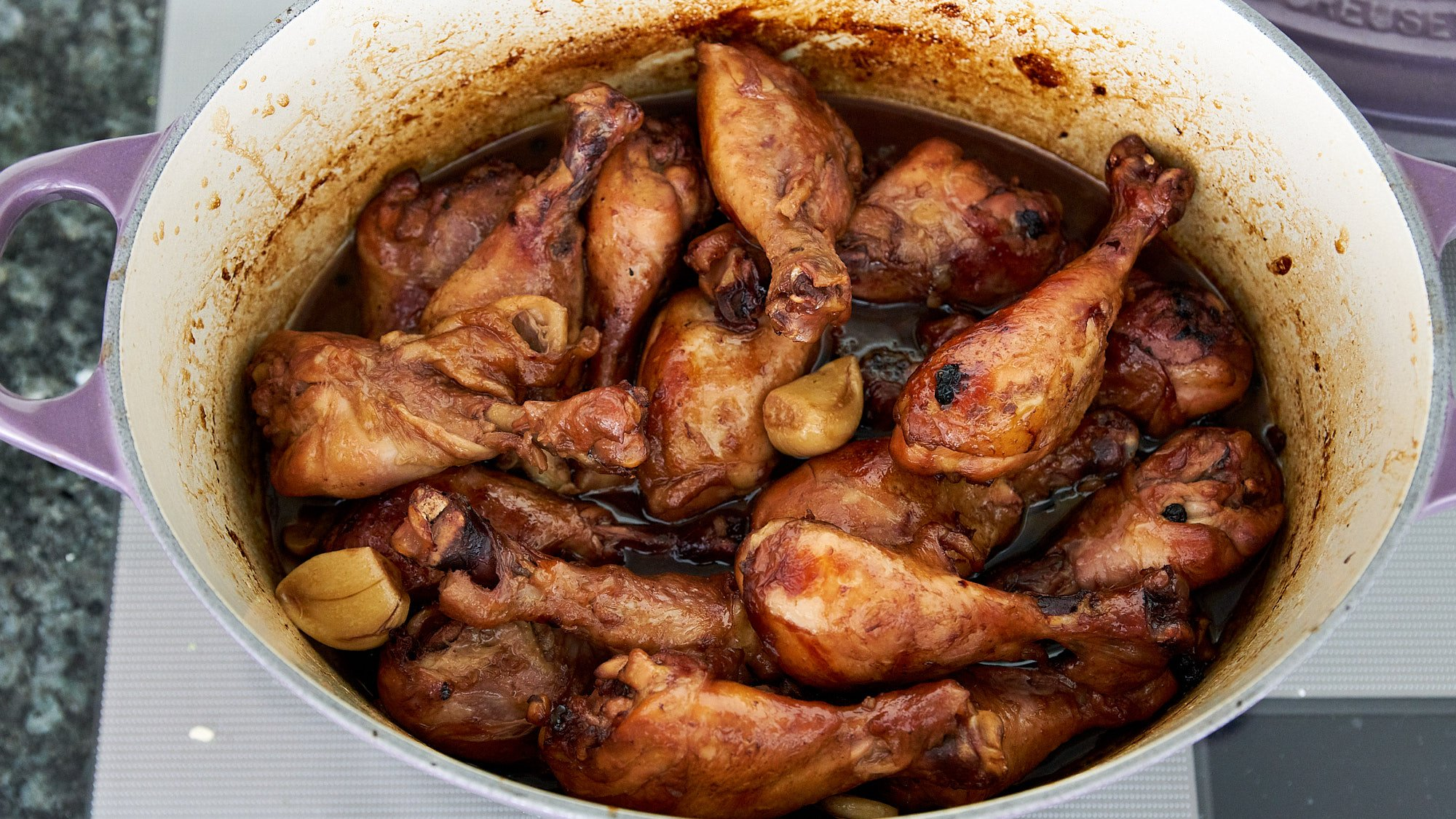 Tender chicken adobo.