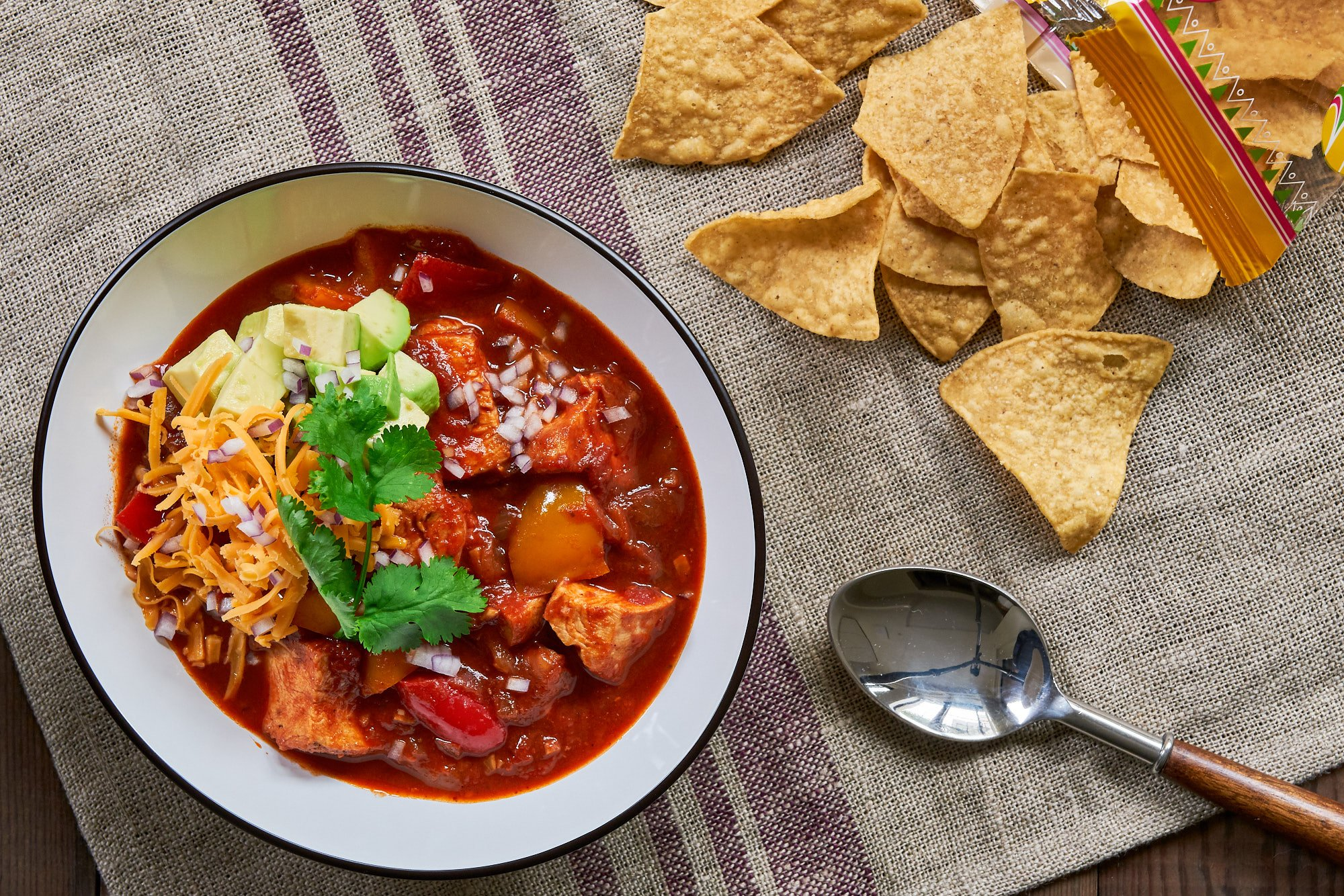 This easy chicken chili has a wonderful balance of textures and taste.