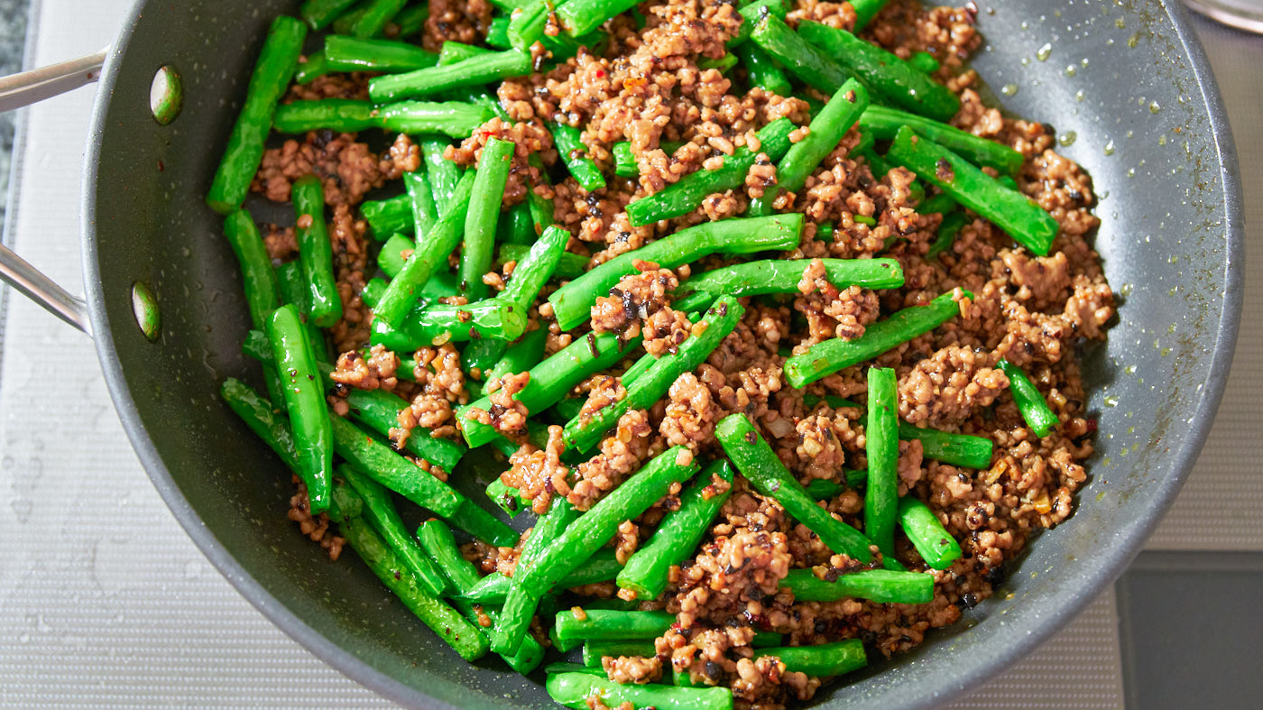 Green bean and ground pork stir-fried with black beans, garlic and chili sauce.