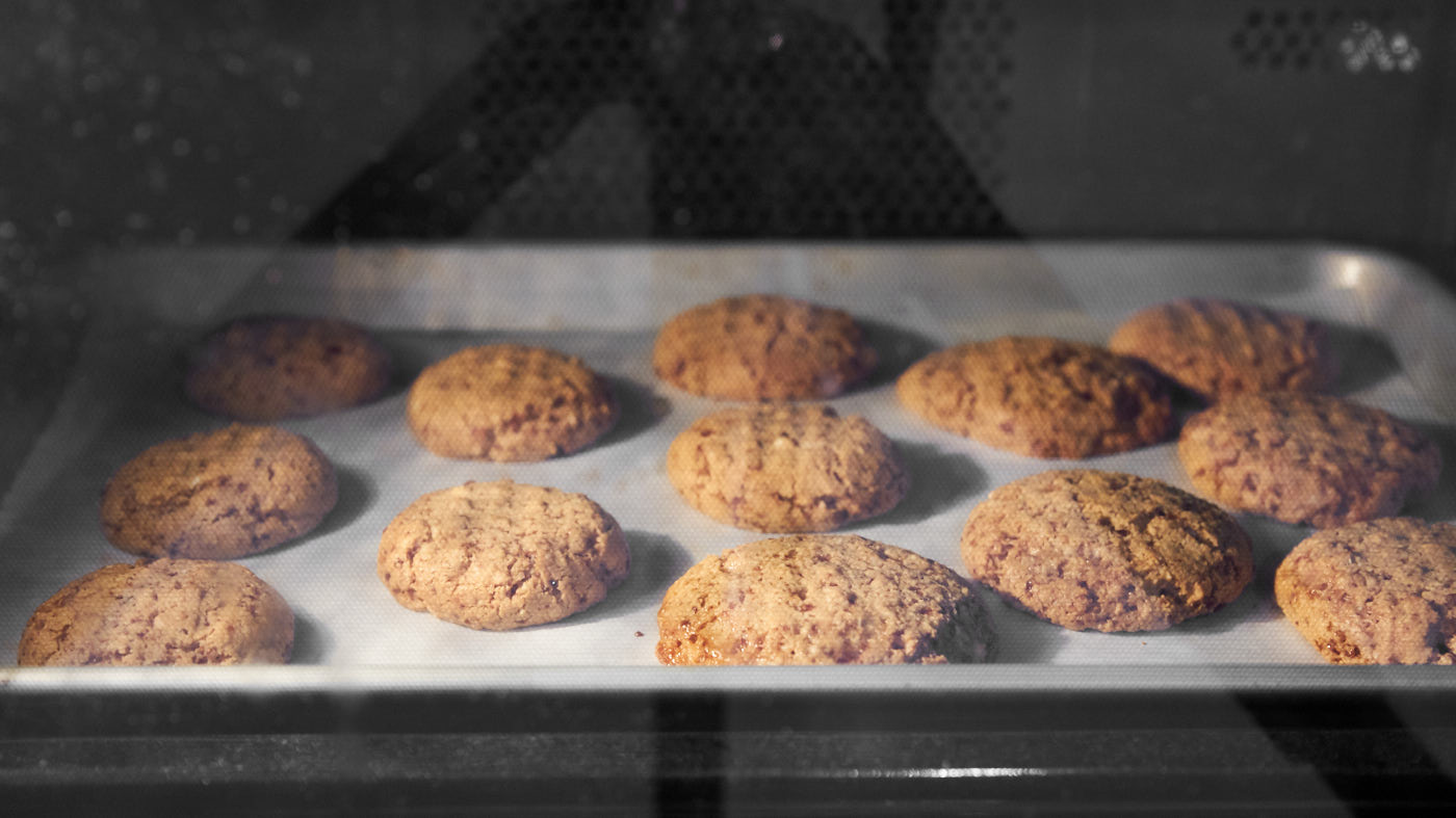 Baking the best peanut butter cookies in the oven.