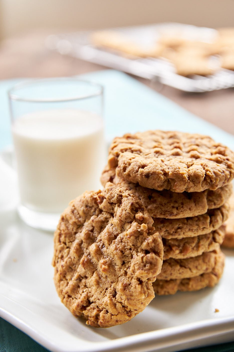 These delicious plant-based peanut butter cookies are chewy on the inside and crisp around the edges.