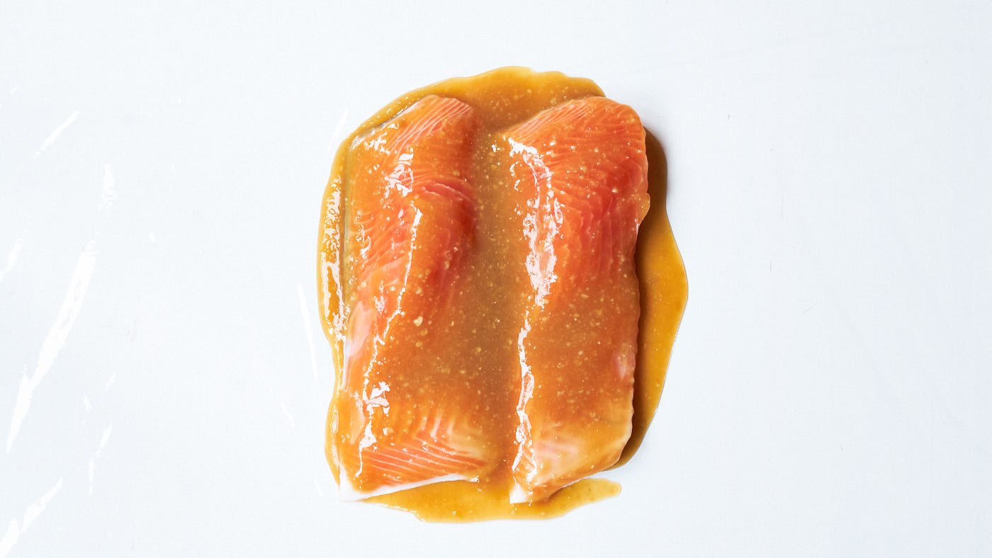 Salmon fillets covered in miso marinade for making the best miso salmon.