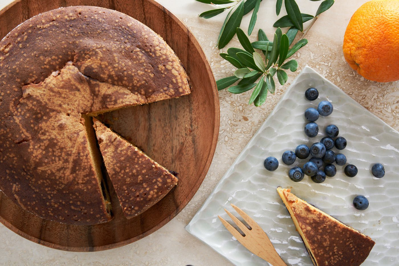 With just a handful of ingredients, this delectable blueberry olive oil cake is tender and moist on the inside with a crisp sugar crust on the outside.