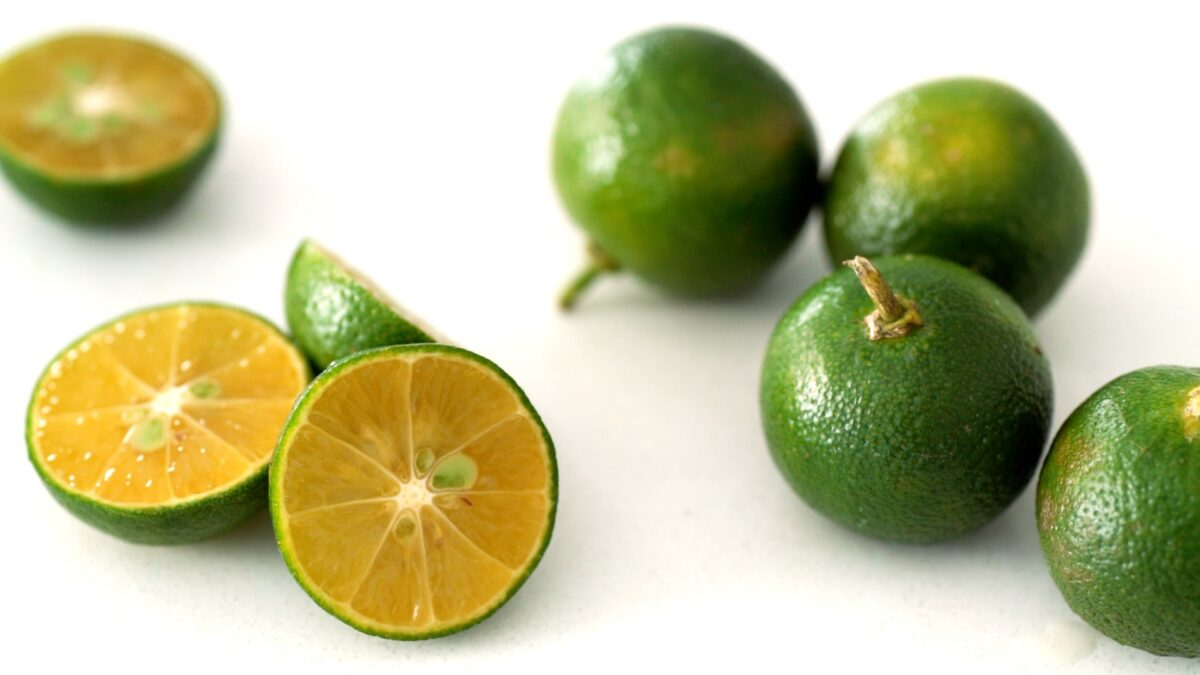 Calamansi is a green-skinned orange-flesh citrus fruit that's fragrant and tart.