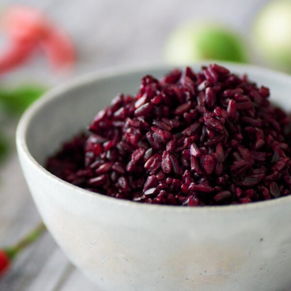 Riceberry is a nutrient-dense cultivar of Thai rice with a stunning purple-black color.