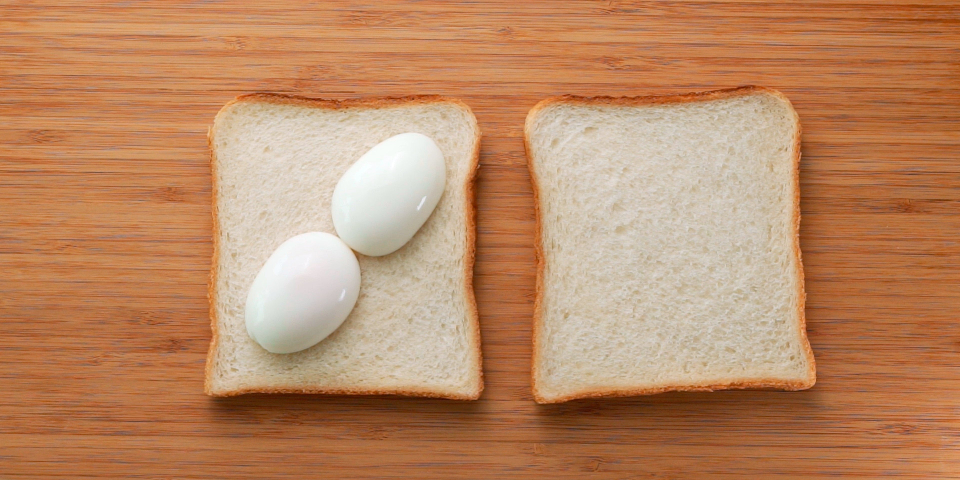 Japanese sandwich bread topped with a halved egg.