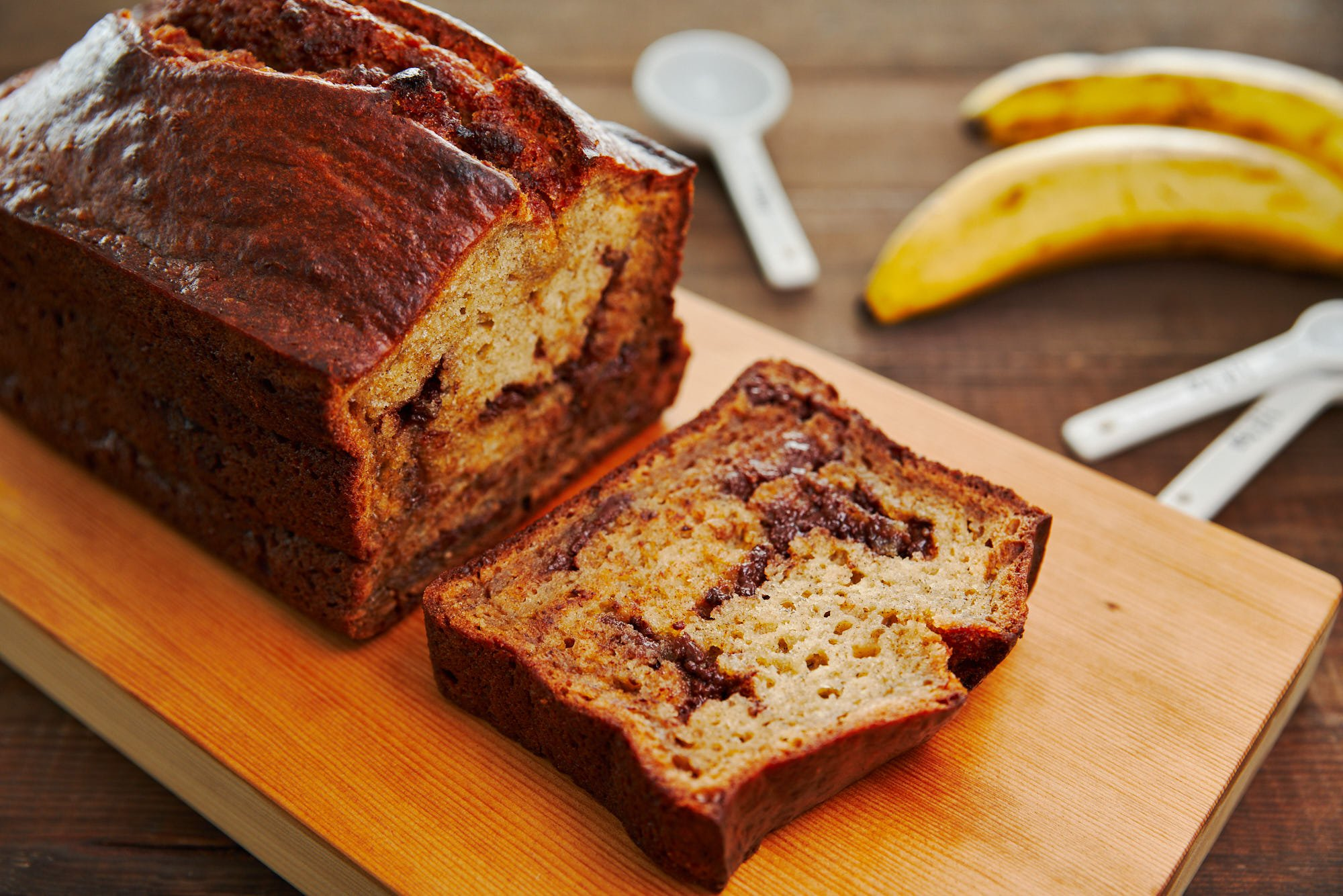 Moist, tender and buttery this banana bread is loaded with chunks of chocolate.