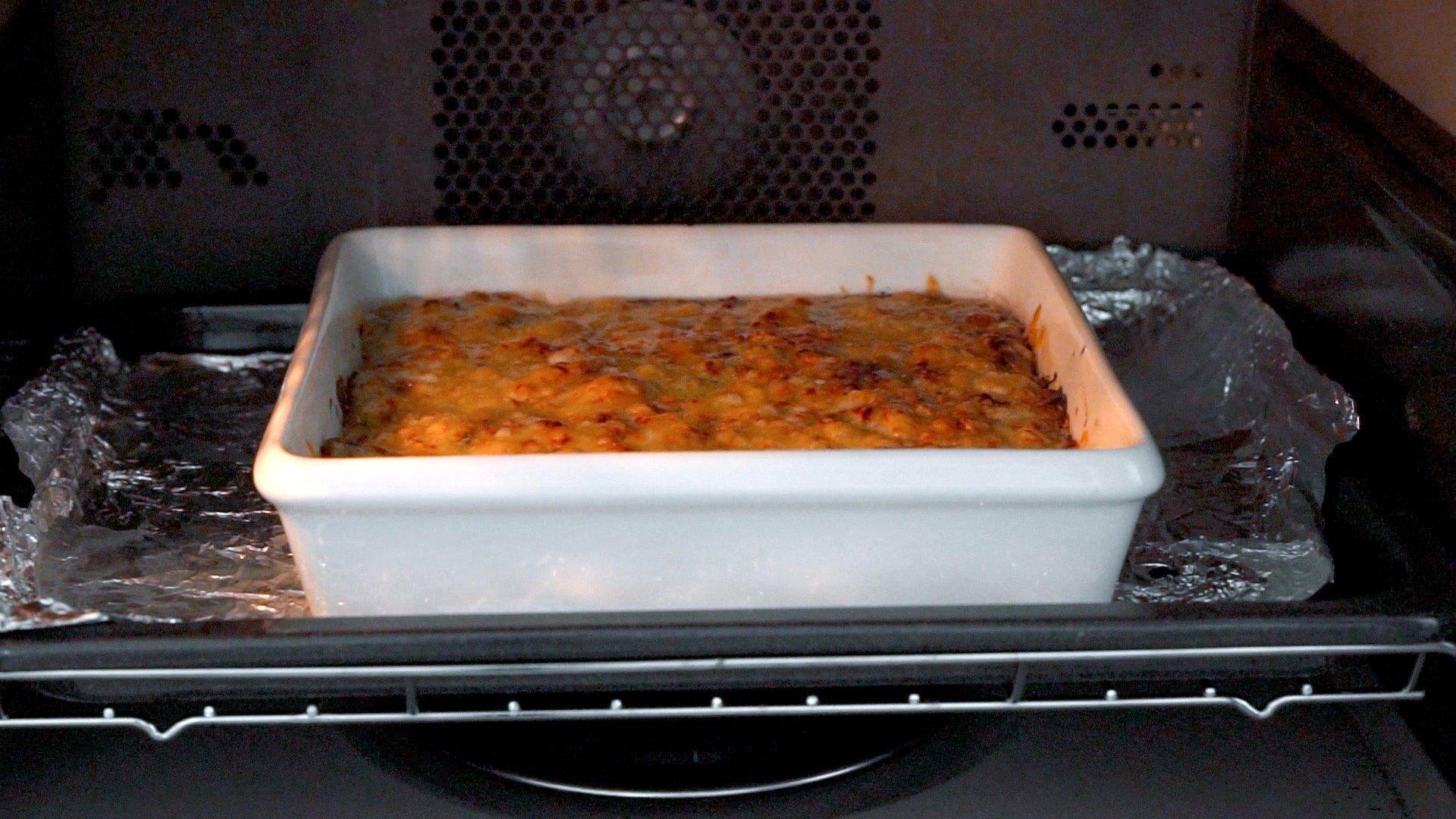 Doria baking in the oven.