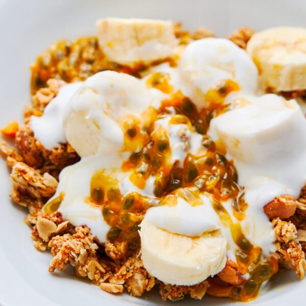 Rich and buttery, this pantry granola is loaded with protein and fiber making it a perfect make-ahead breakfast or healthy snack.