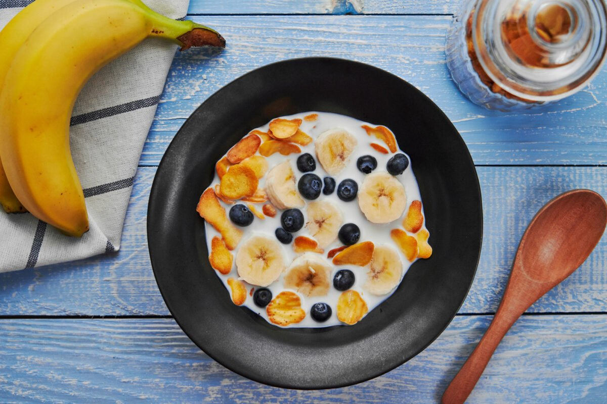 Pancake Cereal with blueberries, bananas, and milk.