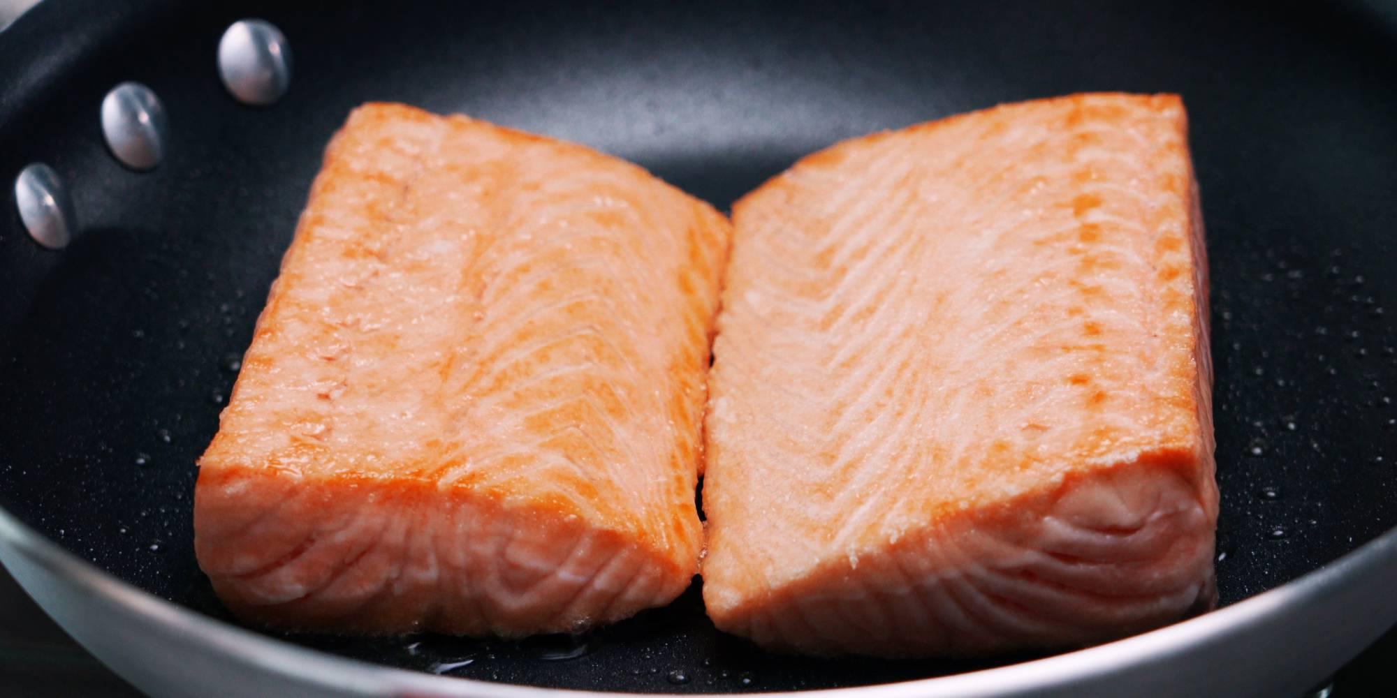 Pan-fried salmon filets.