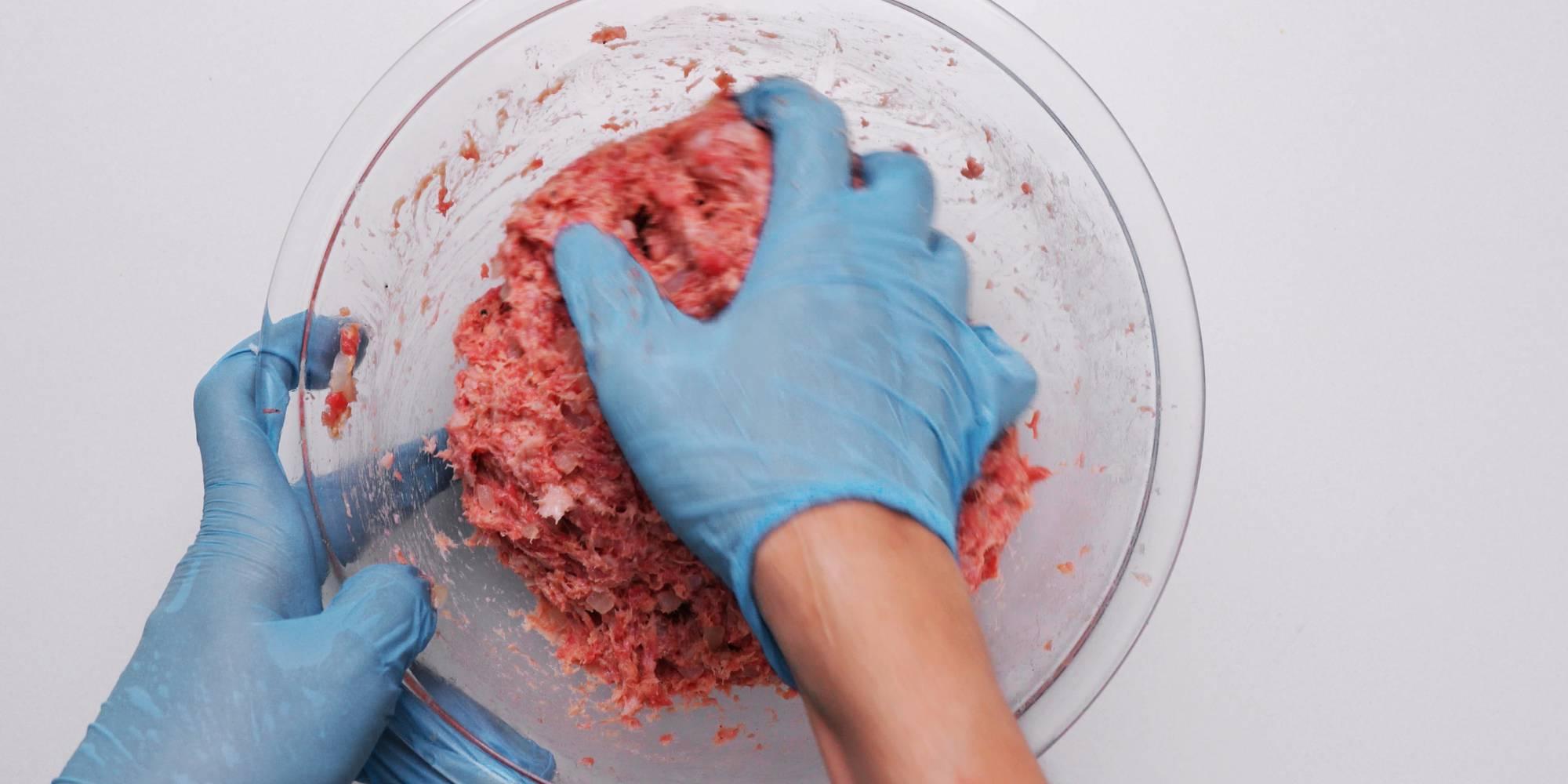 Mixing meat mixture for making Japanese Hamburger Steak.