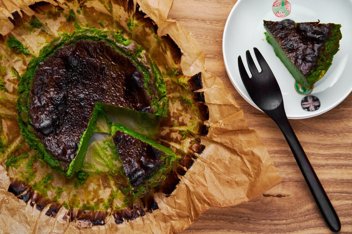 Green tea powder gives this easy Basque Cheesecake it's vibrant green hue.