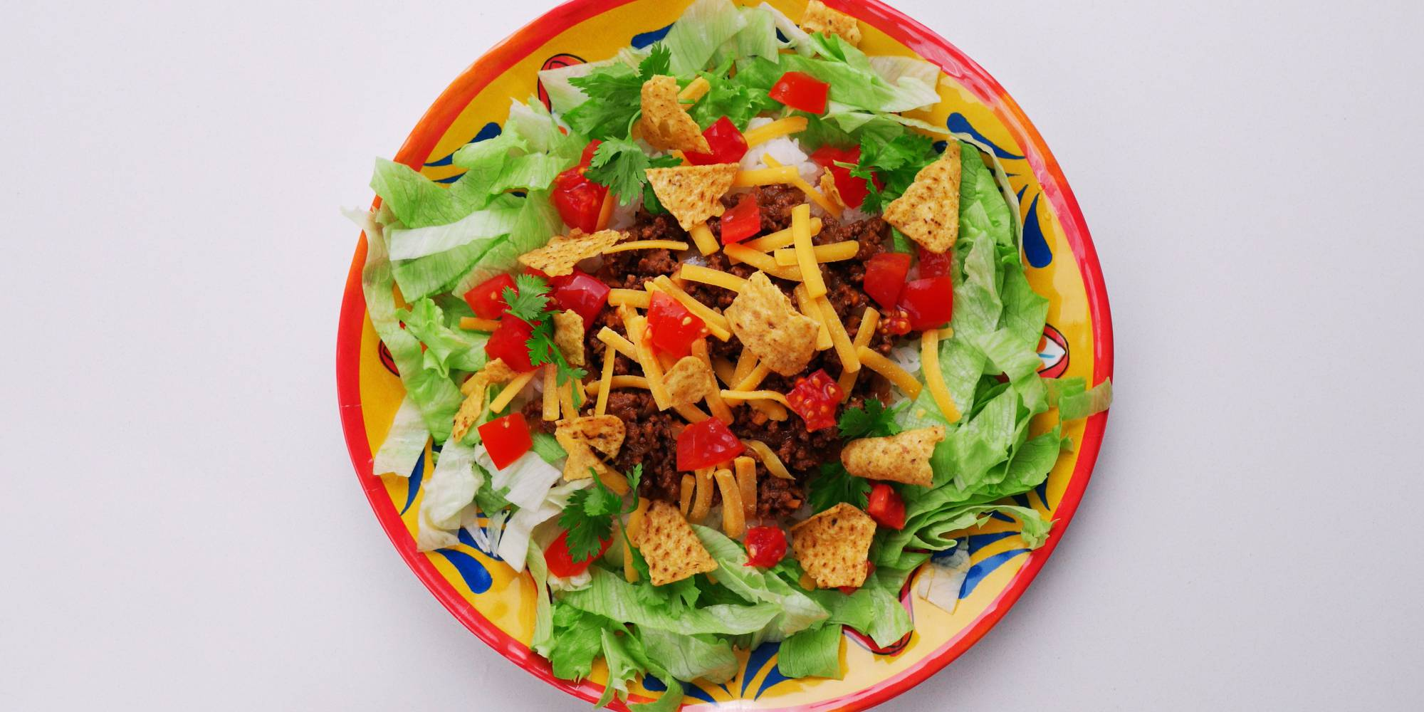 Overhead view of a plate of Okinawa-style taco rice.