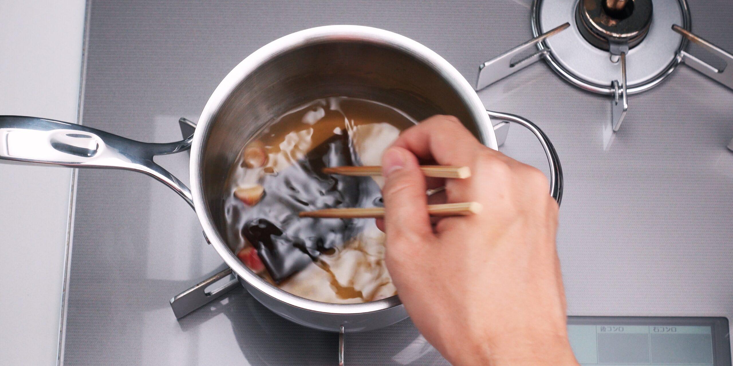 Making pickling brine for Japanese sushi ginger.